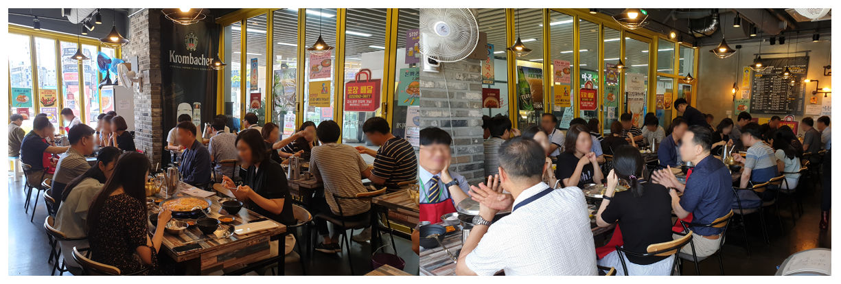 일층집부대찌개 마곡 직영점 점심시간 사람이 꽉 차있는 모습